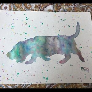 Basset hound watercolor painting